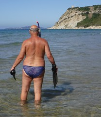 Snorkelling north beach Arillas (pj's memories) Tags: greece corfu arillas speedos seaside slip sea kiniki tanthru trunks flippers