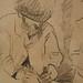 CEZANNE,1872-73 - Cézanne gravant auprès du Docteur Gachet, La Morsure (drawing, dessin, disegno-Louvre RF29925) - Detail 09