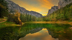Emerald Lake at sunset in Fall (Bernhard Sitzwohl) Tags: lake green emerald forest alps rocks mountains sunset nature landscape outdoor tragöss oberort grüner see