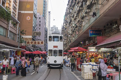 Hong Kong tramway gointh through North Point market street (arnaud_martinez) Tags: apartment built city cityscape cloudscape exterior facade hongkong illuminated infinity market skyscraper aerial architectural architecture balcony block building busy construction estate flat floors home house modern old rails residential retro scene skyline structure style suspended tall tower traditional tram tramway units urban wall windows