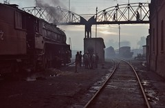 Class WG  |  Indian Rlys  |  1994 by keithwilde152 - Preparing to work a passenger train early morning at Saharanpur Junc shed is 2-8-2 loco WG9954. It appears today that the original loco depot and associated equipment have been cleared to make way for more modern stock accommodation.     28th January 1994