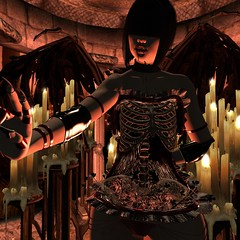 A beast of shadow and flame. (thestorygiver) Tags: sl aisling voluptuous virtualis epiphany gacha halloween witch vampire demon gothic edgy skeleton october hallows candles wings succubus costume art cathedral catwa maitreya fantasy dark mystical magic witchcraft