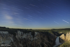 Summer Night At Lower Falls_T3W0620_0622 (Alfred J. Lockwood Photography) Tags: alfredjlockwood nature landscape nightscape startrails waterfall lowerfalls lookoutpoint summer yellowstonenationalpark grandcanyonofyellowstone timestack exposureblend longexposure wyoming