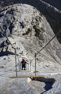 Climbing the cables on Half Dome