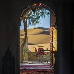 tea in the sahara (areacode) Tags: merzouga sahara desert tea mint sand dune chair table resort morocco