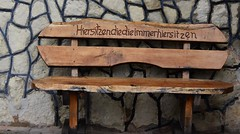 Hiersitzendiedieimmerhiersitzen (Gerlinde Hofmann) Tags: germany thuringia village bürden bench written handmade