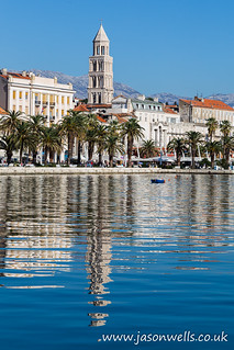 Cathedral of St Domnius reflects in the water