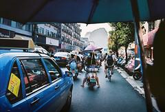 Moto-taxi (louis de champs) Tags: minoltasrt101 kodakektar100 pushed400 streetphotography china yangshuo motorbike taxi roadtrip