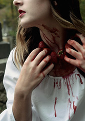 Intensity (Kaitlyn June) Tags: strawberries photography gore horror beautiful fashion fashionphotography cemetery white redlips lipstick makeup