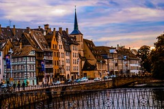 Early evening in Strasbourg, France (tamaraschwenk) Tags: sunset city river