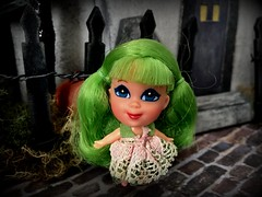 2. Let's knock on the door! (Foxy Belle) Tags: doll halloween kiddle haunted house diorama miniature putz paper cardboard diy mod 1960s tiny apple blossom cologne green hair liddle