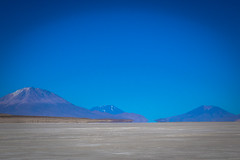 Those volcanoes are actually in Chile.  This was the last salar we would encounter in Bolivia before crossing the border.