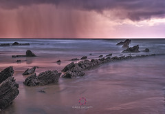 End of Summer (Claudio Cantonetti) Tags: 2017 nikon claudiocantonetti claudiocantonetticom colors europe landscape light photography places spain travel barrika beach seaside seascape sunset sunrise dawn rain thunderstorm pink orange rocks water reflection movement clouds earth sand weather nature natural