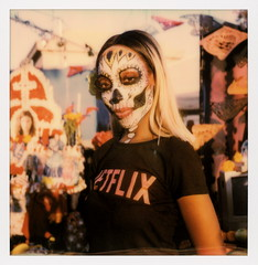 Netflix Muertos Maiden (tobysx70) Tags: polaroid originals color 600 instant film slr680 frankenroid sx70 door rollers netflix maiden dia de los muertos celebration hollywood forever cemetery santa monica blvd boulevard angeles la california ca woman lady portrait skull makeup route rte rt 66 house of cards altar toby hancock photography