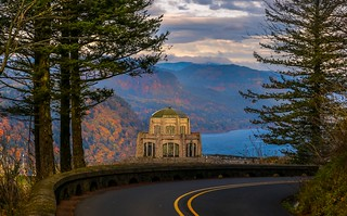 Vista House View - Historic Columbia River Highway in Autumn