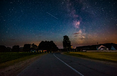 Milky Way Road (free3yourmind) Tags: milky way road path turn belarus house village night sky stars starry comet falling asteroid