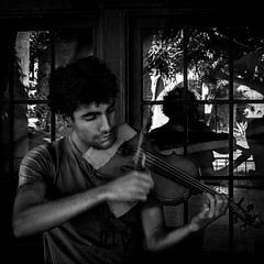 0246937267-92-Busker Playing the Violin in Balboa Park for Tips-2-Black and White (Jim There's things half in shadow and in light) Tags: 2017 balboapark california canon5dmarkiv sandiego sigma24105mmf4dg vacation mission people violin blackandwhite music musician