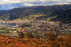 A town embraced by mountains (JensRongved) Tags: bergen norway norwegen harbour town village hordaland