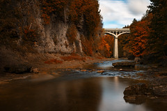 Elora Gorge (B.E.K.) Tags: elora gorge ontario autumn fineart longexposure nikond850 nikon2470f28 outdoor landscape river watercourse shore bank trees rock architecture bridge water nature grand