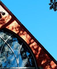 Episcopal Window (Noel C. Hankamer) Tags: graceepiscopalchurch church window stone spire religious blue sky shade shadows glass negativespace minimalism