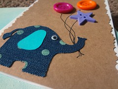 Elephant card (echilds41) Tags: denim papercrafts cardstock homemade buttons birthday