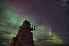 Gull Harbor Lighthouse (Winglet Photography) Tags: wingletphotography northernlights auroraborealis georgewidener stockphoto solarstorm aurora geomagnetic earth sun canon 7d storm solar georgerwidener night nighttime longexposure dark inspiration lights colors sky lighthouse hecla manitoba island gullharbor old canada heclaisland 1898 pleiades hyades galaxy milkyway