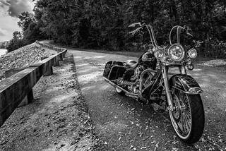 Harley-Davidson Motorcycle - A black and white edit.