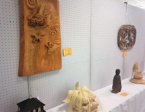 close-up, wood carved sculptures