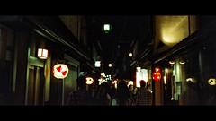 Gion, Kyoto, Japan (emrecift) Tags: candid night street portrait low light kyoto japan analog 35mm film photography cinematic grain 2391 anamorphic crop canon ae1 program new fd 50mm f14 cinestill 800t kodak vision 3 emrecift