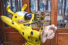 let's have some fun (albyn.davis) Tags: paris germain colorful bright vivid vibrant yellow france europe street humor humorous fun cafe restaurant