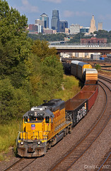 """Westbound Manifest in Kansas City, KS (""""Righteous"""" Grant G.) Tags: up union pacific railroad railway locomotive train trains west westbound transfer freight emd power"""