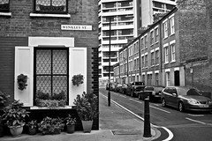 Winkley St (I M Roberts) Tags: winkleyst towerhamlets e2 bow terracehouses towerblock urbansetting eastlondon fujix100s bw