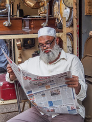 Mumbai 2015 (hunbille) Tags: india mumbai bombay birgittemumbai2lr chor market bazaar bazar chorbazaar thieves flea antiques antique reading newspaper