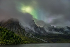 'A Window Through The Mountain Mists' - Storvatnet, Lofoten Islands (Kristofer Williams) Tags: mountains landscape night sky stars nightscape storvatnet lofoten norway lake mist cloud aurora