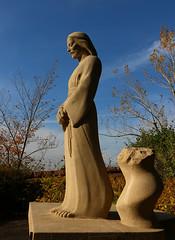 Statue of Christ (David Basiove) Tags: blue yellow sculpture christ beautiful garden montreal oratory loritoire saint joseph church basilica cathedral chapel pray religion catholic worship