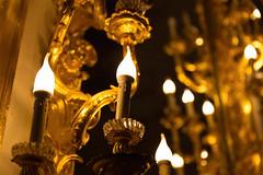 Warm bright candle in gold decoration of dark scene (jack-sooksan) Tags: candle light bright gold golden shine blazing fire decoration dark night beam electric warm yellow lamp lantern illumination ornament burning flame hot heat