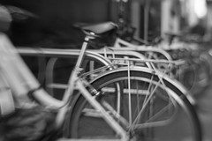 Blurred Bikes (jporter17191) Tags: blur blurred edinburgh lensbaby lensbabyproii 35mmsoftspot 35mm blackandwhite bw monochrome street