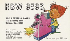 B & B: B & B Printing - Holland, Ohio (73sand88s by Cardboard America) Tags: qsl vintage qslcard cb cbradio ohio bb artistcard