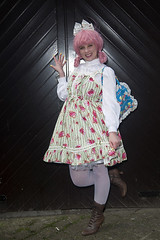 PHOTOGRAPHY BY PAT LYTTLE (jpassionpat) Tags: girlie lolita sweet dress frilly cute kawaii japanesestreetstyle japanesefashion bodyline boots bag pinkhair white lace blouse tights