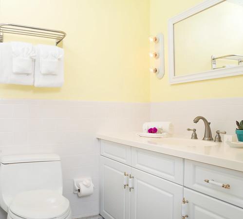 Bathrooms in Rooms at  West Wind Inn