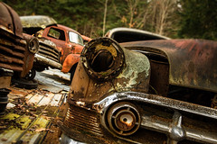 spare parts needed (ISP Bruno Laplante) Tags: scrapyard car pickup gmc old rusted rust decay decaying chrome vintage bumper parts chevy chevrolet 53 explore 120