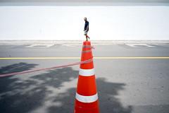 Standing (jobChaowadee) Tags: alone man standing cone line geometry street streetphoto sony a9 leica elmaritm 28mm asph bangkok thailand
