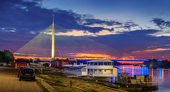 Ada-Bridge-Twilight-1 (Predrag Mladenovic) Tags: belgrade sava river ada bridge newrailway gazela sunset twilight reflections citylights