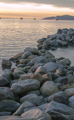 Skipped A Lot  of Rocks.0507 wm-DE (epicphoto46) Tags: rocks stanleypark vancouverbc dusk water