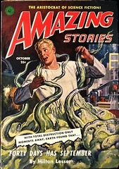 Amazing Stories Vol. 25, No. 10 (October., 1951).  Cover Art by Robert Gibson Jones. (lhboudreau) Tags: pulps pulp magazine magazines pulpmagazine pulpmagazines magazinecoverart pulpmagazinecover pulpmagazinecovers magazinecover magazinecovers pulpcover pulpcovers amazing amazingstories amazingstoriesmagazine october1951 1951 sciencefiction pulpfiction pulpart volume25number10 coverart magazineart vintagepulpcover vintagepulpcovers vintagepulpart illustration illustrations drawing drawings vintagepulpmagazine vintagepulpmagazines stories robertgibsonjones robertjones artwork frontcover fictionmagazine manintrouble manindistress aliens arms tentacles green fortydayshasseptember miltonlesser aristocratofsciencefiction