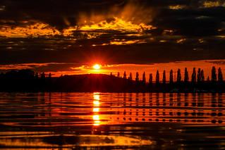 Red sundown over Lake Constance