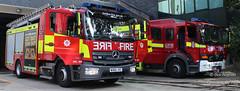Euston Fire station lineup (Ben - NorthEast Photographer) Tags: lfb london fire brigade mercedes pump fru rescue unit euston station wx66jvc rx05avd lineup