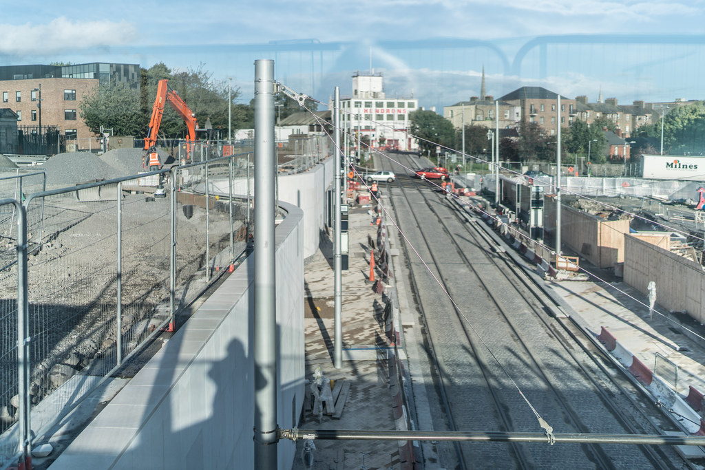 CONSTRUCTION STILL UNDERWAY AT THE BROADSTONE TRAM STOP [THE SCENE IS SOMEWHAT COMPLICATED]-132996