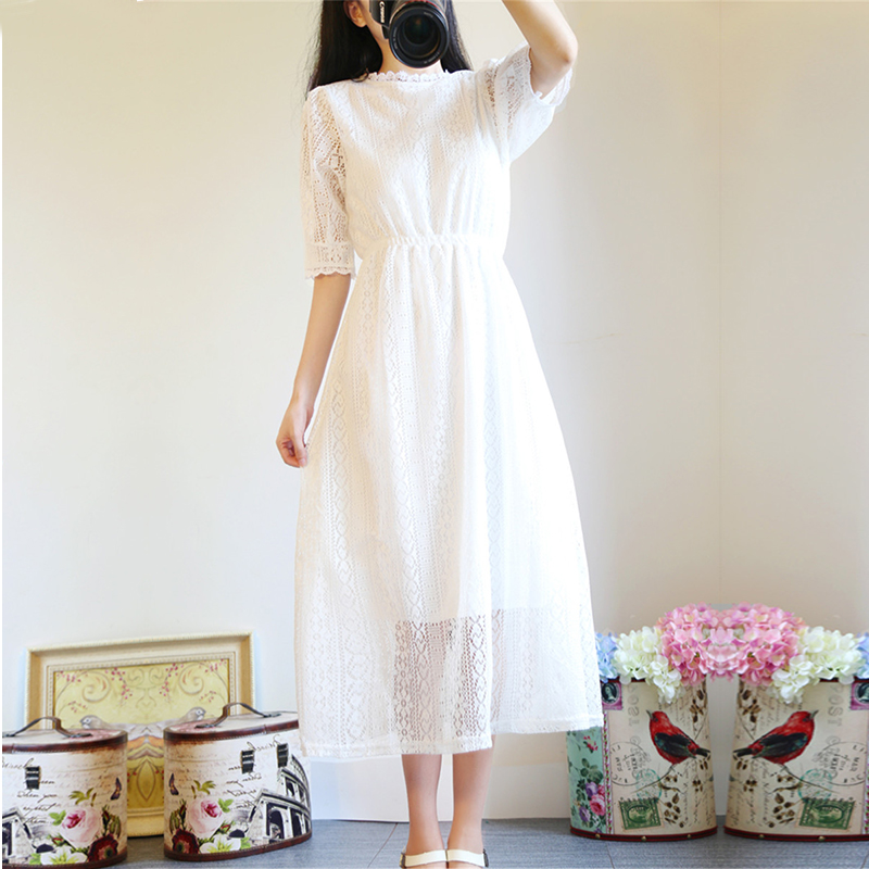 Korean summer, sweet little fresh, slim slim, collar collar, college wind, long lace dress, summer skirt