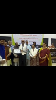 Both of our founding members Dr Manorama Khanna as well as Anil Kr Tripathy have recently received Life time Contribution Award from Shri Vijay Goel,MOS (Parl Affairs), Manoj Tiwari (MP)